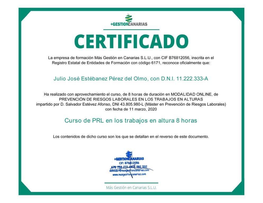 Anverso de un certificado de trabajos en altura Online