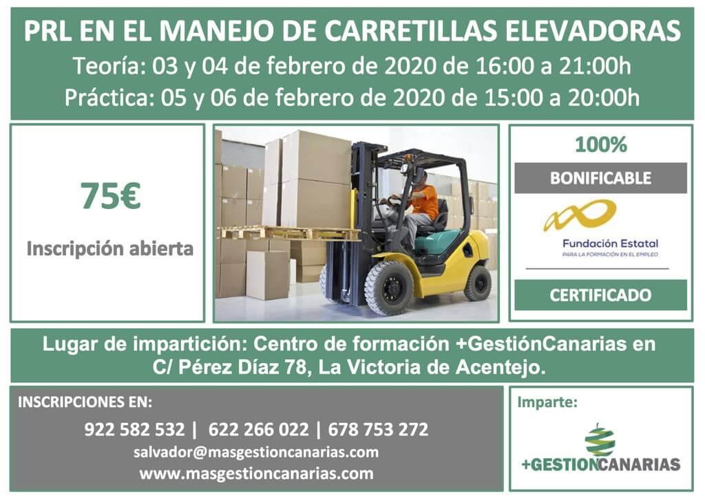 Curso de PRL en el manejo de carretillas elevadoras en La Victoria de Acentejo