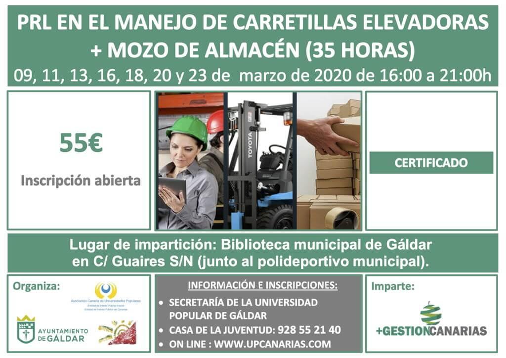Curso PRL Carretillas y Mozo de Almacén en Gáldar