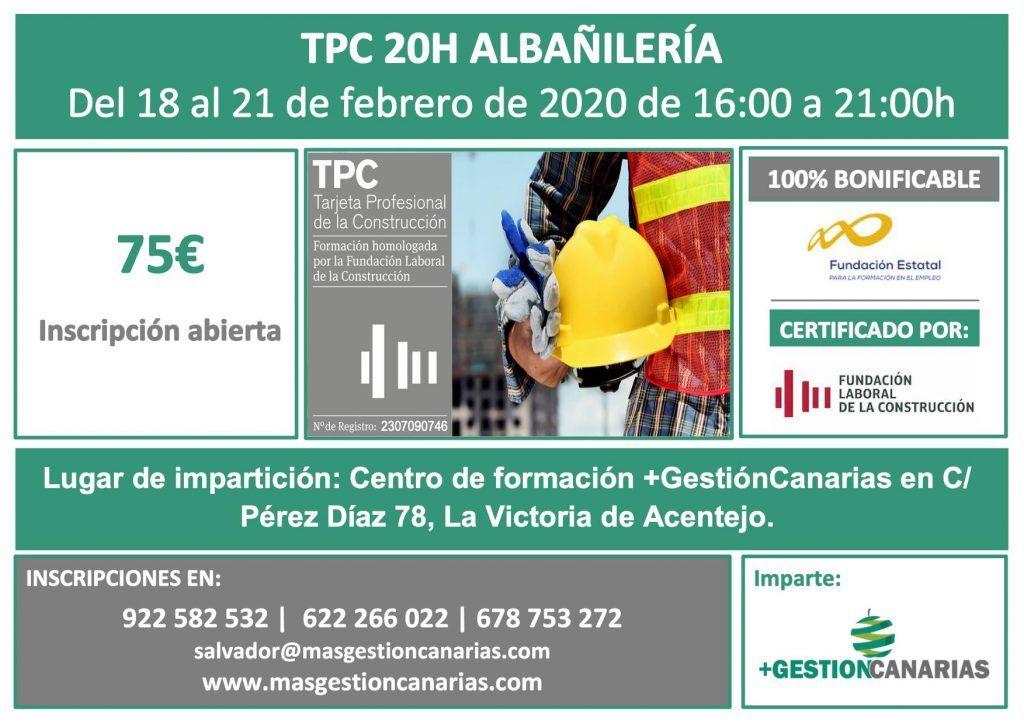 Curso de TPC de Albañilería 20 horas