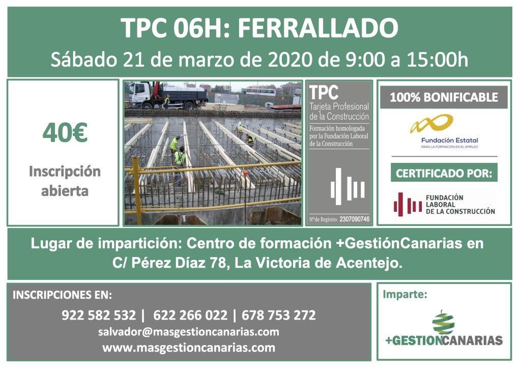 Curso de TPC ferralla en Tenerife